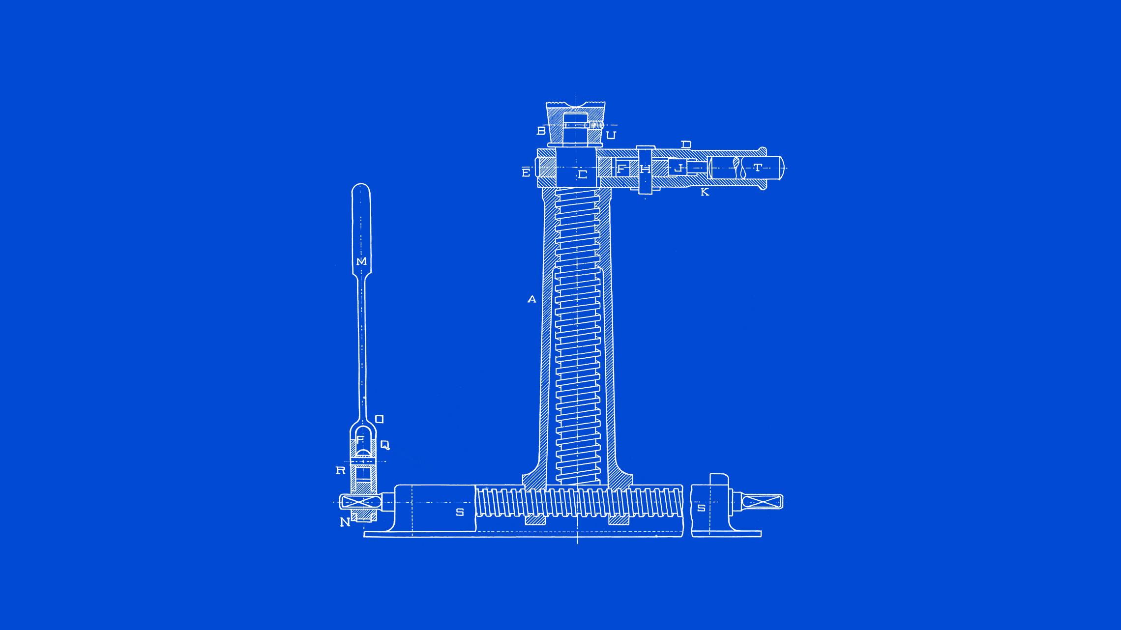 Vista frontal de desenho técnico de um macaco com movimento transversal em fundo azul