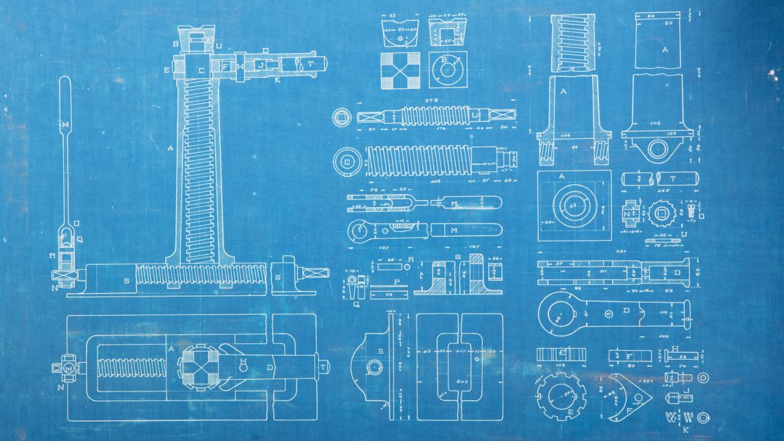 desenho técnico sobre papel azul