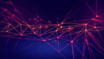 Imagem abstrata de uma rede com ligações entre vários pontos.