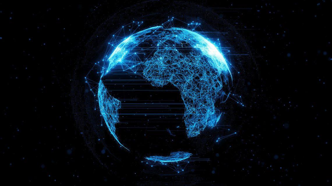 Renderização abstrata de um globo terrestre ligado por milhares de pontos.