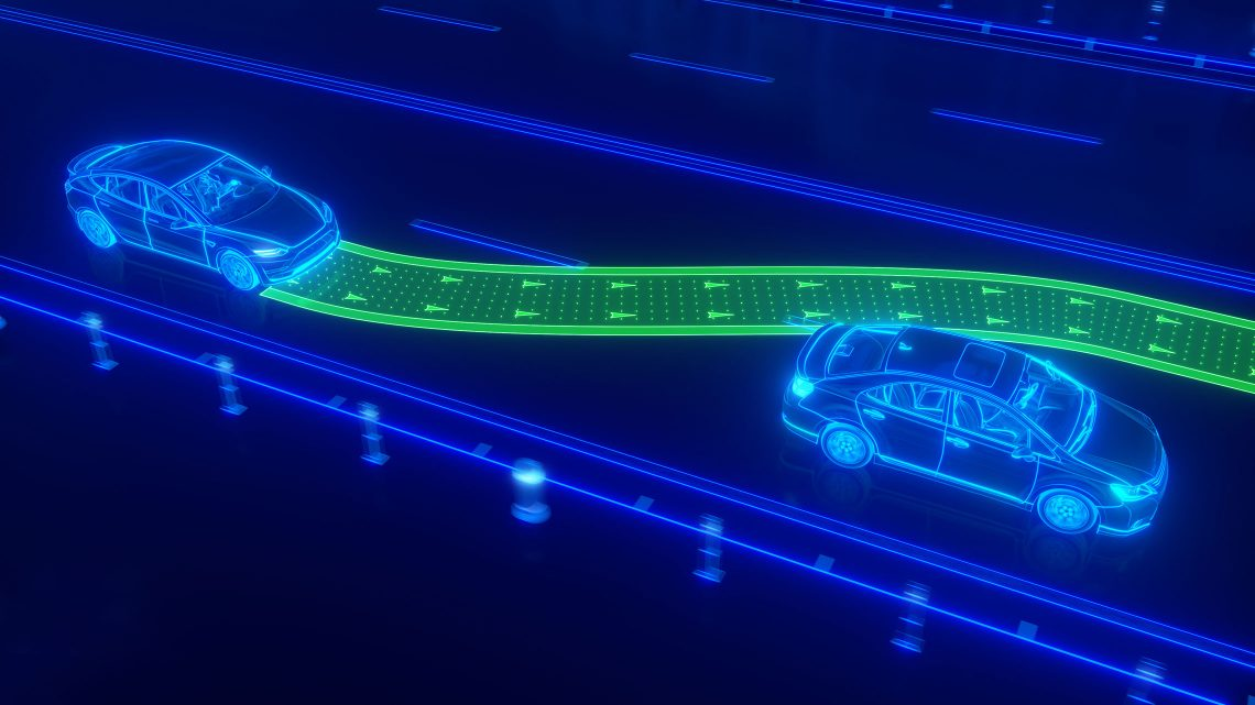 Representação de um carro autónomo a aproximar-se de outro veículo e em vias de o ultrapassar