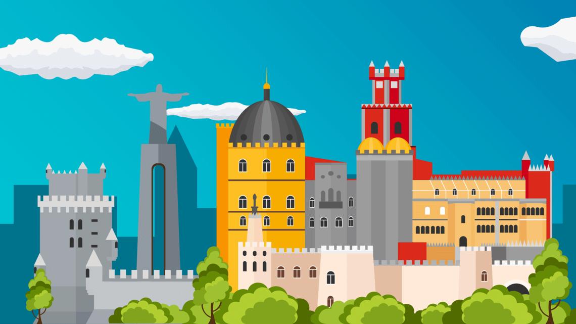 Montagem ilustrada de alguns dos monumentos portugueses mais icónicos